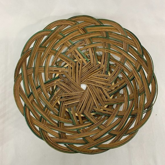VTG Rattan Wicker Woven Round Basket Green Accents